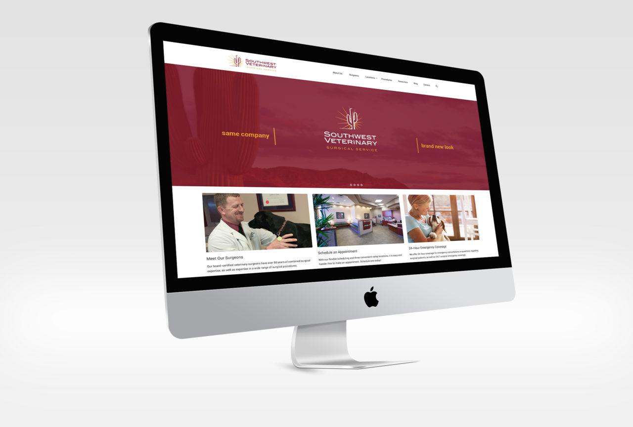 Southwest Veterinary Surgical Service website mockup on a desktop computer