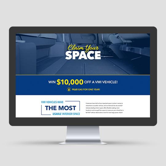 VMI Claim Your Space landing page desktop mockup