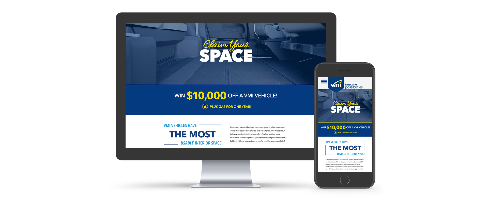 Claim Your Space landing page mockup on desktop and mobile