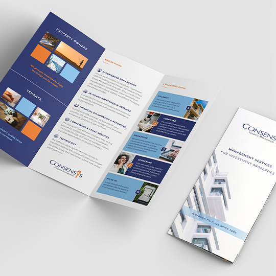 ConsensYs tri-fold brochure design mockup