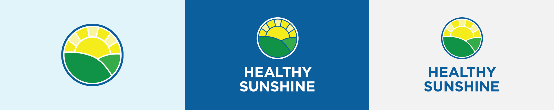 Vertical orientation of Healthy Sunshine logos on different color backgrounds and an icon version