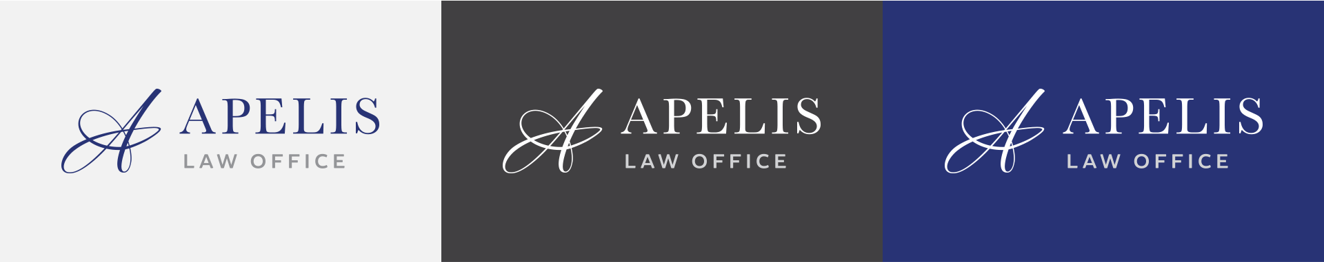 Horizontal orientation of Apelis Law Office logos on different color backgrounds