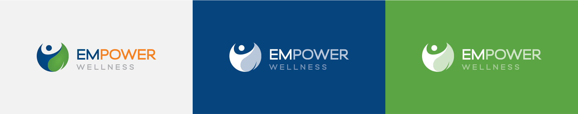 Horizontal orientation of Empower Wellness Logo on different color backgrounds