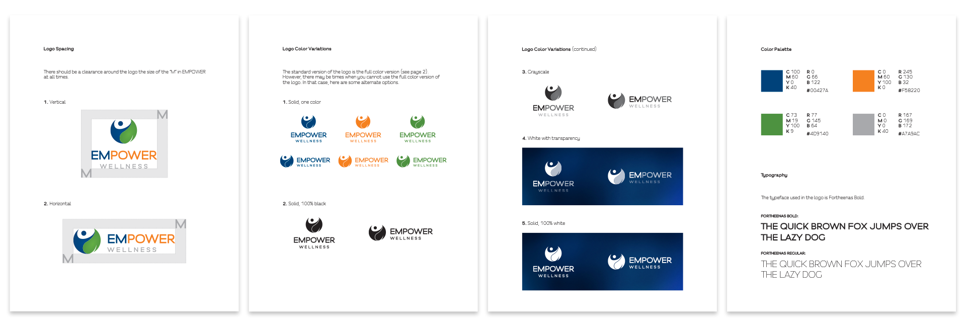 Empower Wellness logo guidelines pages