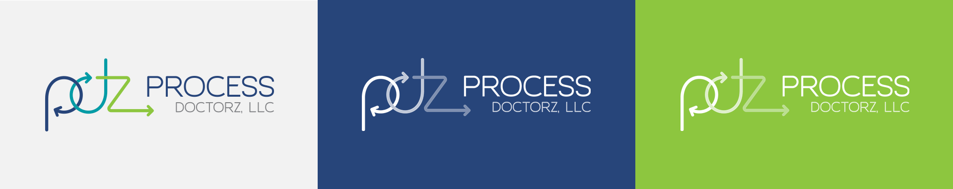 Horizontal orientation of process doctorz logo on different colors