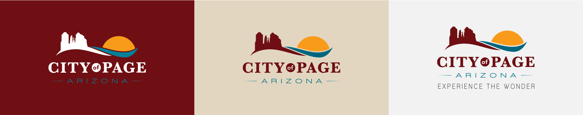 City of Page logo on different color backgrounds