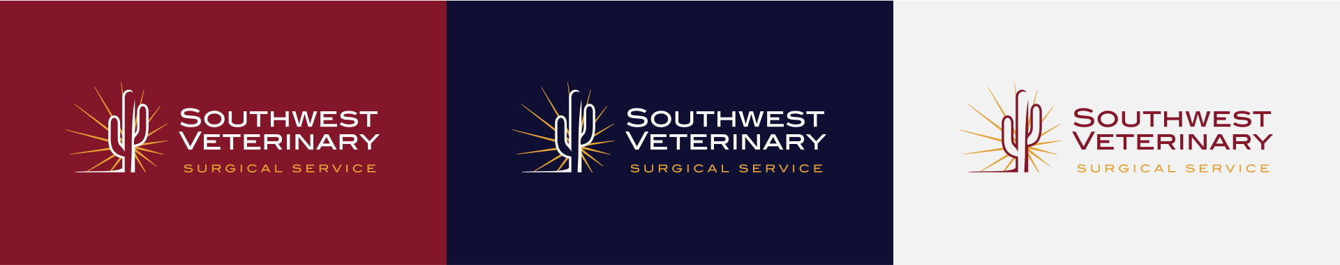 Horizontal orientation of Southwest Veterinary logo on different color backgrounds