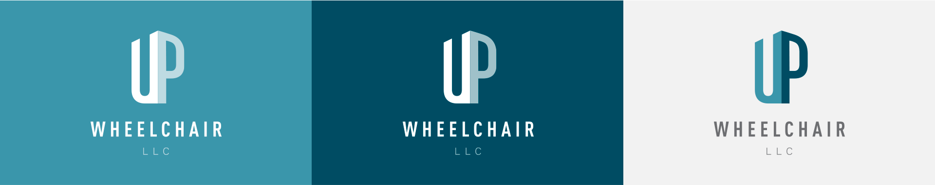 Vertical orientation of UP Wheelchair logo on different color backgrounds