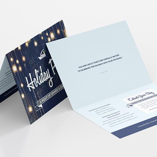 VMI holiday party invitation design